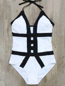 Hollow Out Color Block Halter One-Piece Swimwear - White And Black S