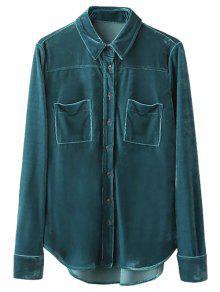 Velvet Patch Pockets Shirt - Peacock Blue L