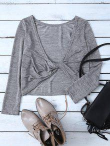 Heathered Long Sleeve Twist T-Shirt - Gray S