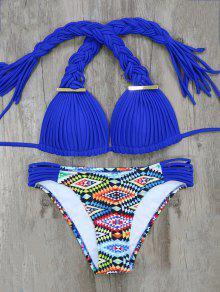 Argyle Tressé Bikini - Bleu M