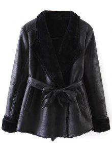 Belted Fleece Faux Cuir Manteau - Noir M