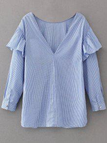 V Neck Ruffle Striped Pullover Shirt - Blue Xs