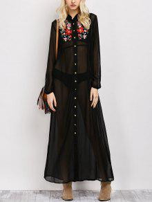 Embroidered Sheer Maxi Shirt Dress - Black M