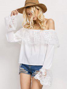 Camiseta Chiffon Volantes Hombro Por Debajo - Blanco Xl