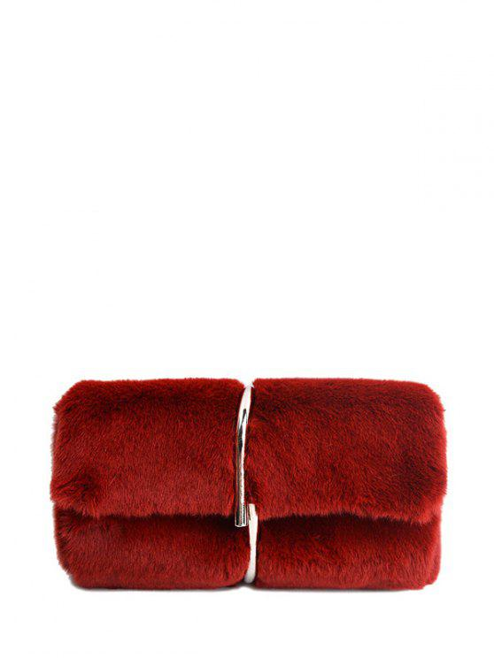 593bf5297d88 31% OFF  2019 Flapped Faux Fur Clutch Bag In CLARET