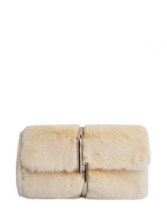 affordable Flapped Faux Fur Clutch Bag - BEIGE