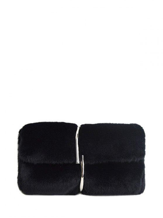 fb97facd5f 34% OFF  2019 Flapped Faux Fur Clutch Bag In BLACK