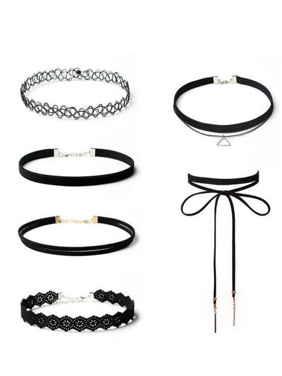 trendy Tattoo Flower Bar Choker Necklace Set - BLACK