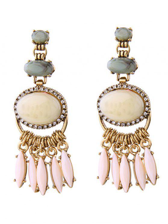 new Faux Gemstone Fringed Earrings - GOLDEN
