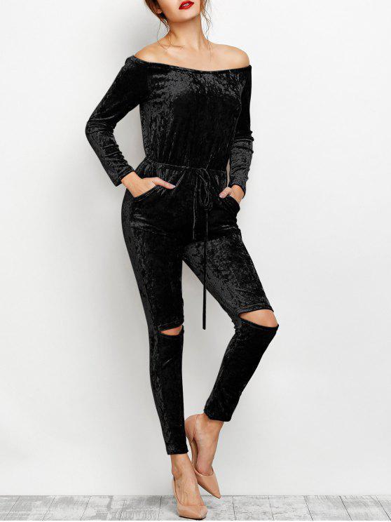chic Ripped Off Shoulder Velvet Jumpsuit - BLACK S