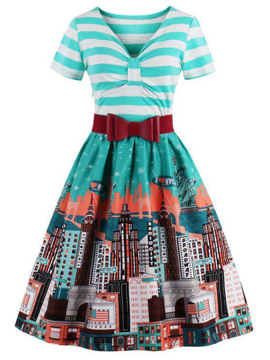 Striped Bowknot Printed ausgestelltes Kleid - Aquamarin 3XL