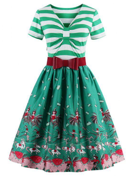 فستان توهج بونوت مخطط - الكريستال الأخضر 3XL