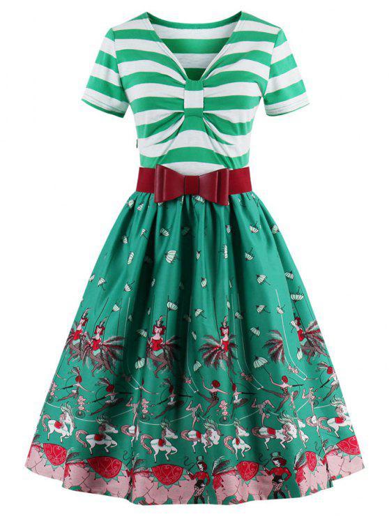 فستان توهج بونوت مخطط - الكريستال الأخضر L