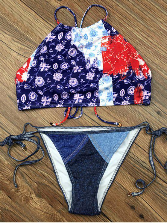 Crosscriss floral Conjunto de paneles Bikini - Azul M