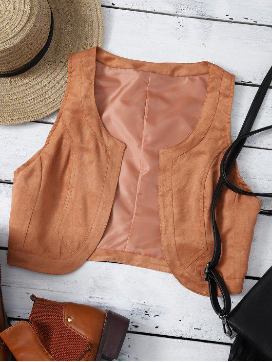 chic Cropped Waistcoat - BROWN XL