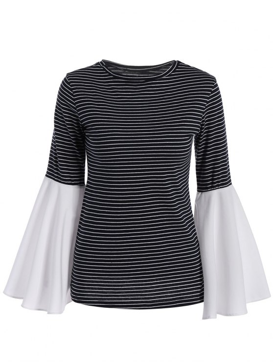 online Flare Sleeve Striped T-Shirt - STRIPE M