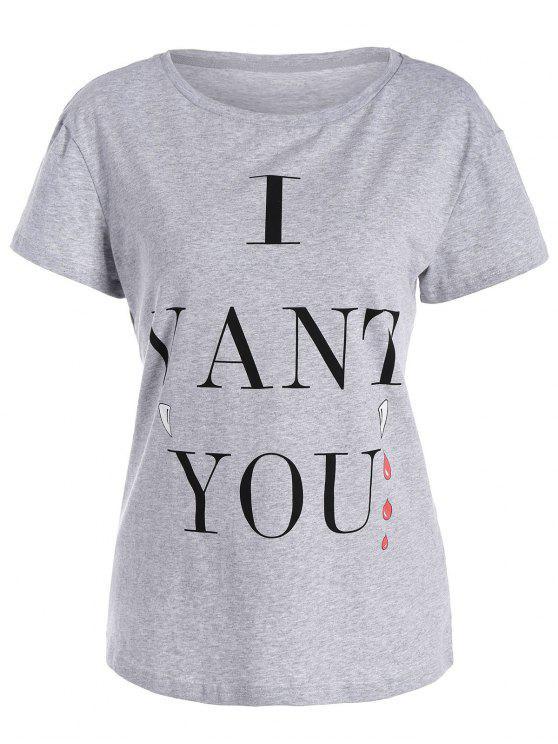 T-shirt imprimé I Want You - Gris M