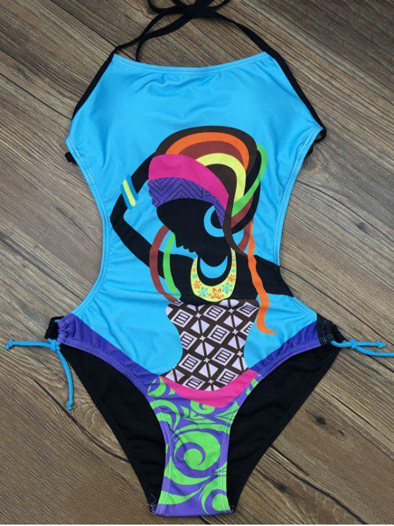 Impresión del extracto del halter del traje de baño - Lago Azul M
