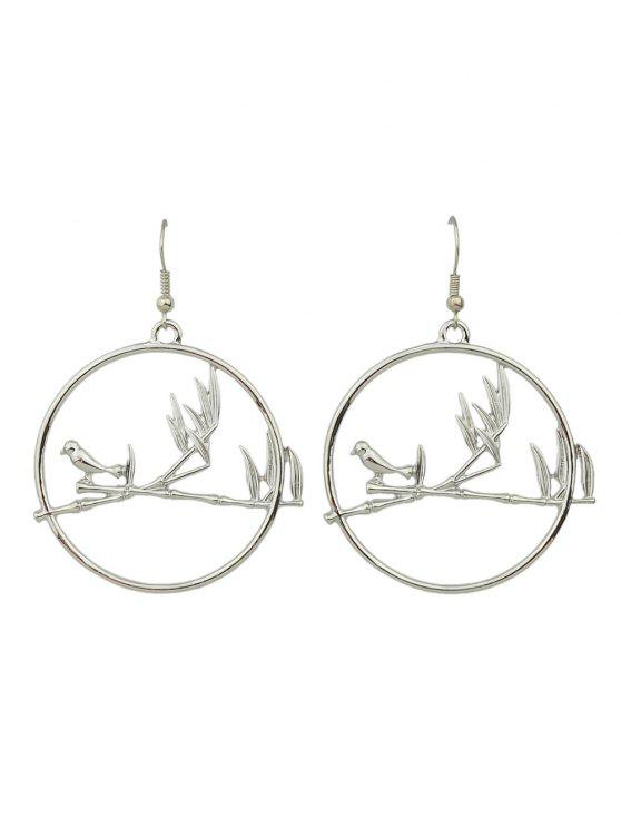 online Drop Hoop Bird Earrings - SILVER