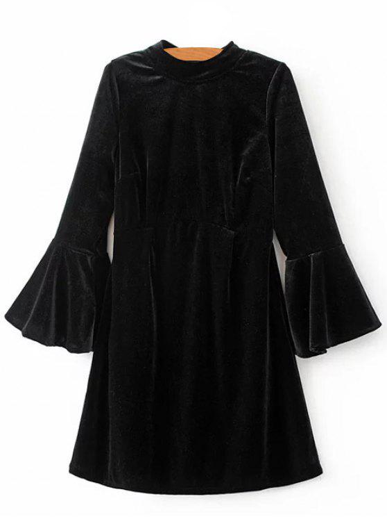 ladies Cut Out Bell Sleeve Velvet Dress - BLACK L