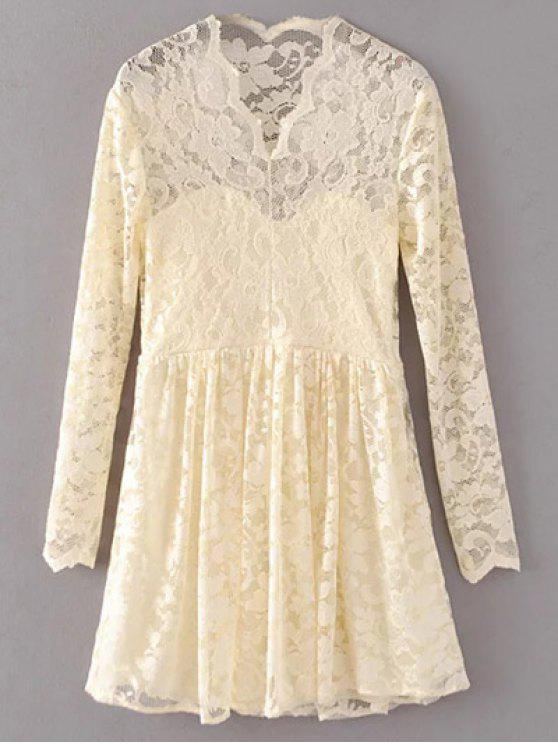 women's Lace V Neck Dress - PALOMINO L