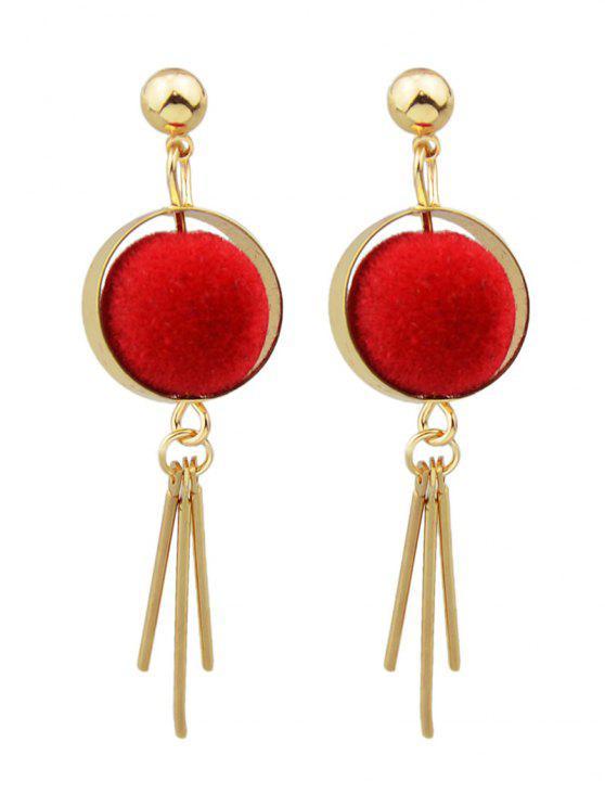 shops Ball Circle Bar Earrings - RED