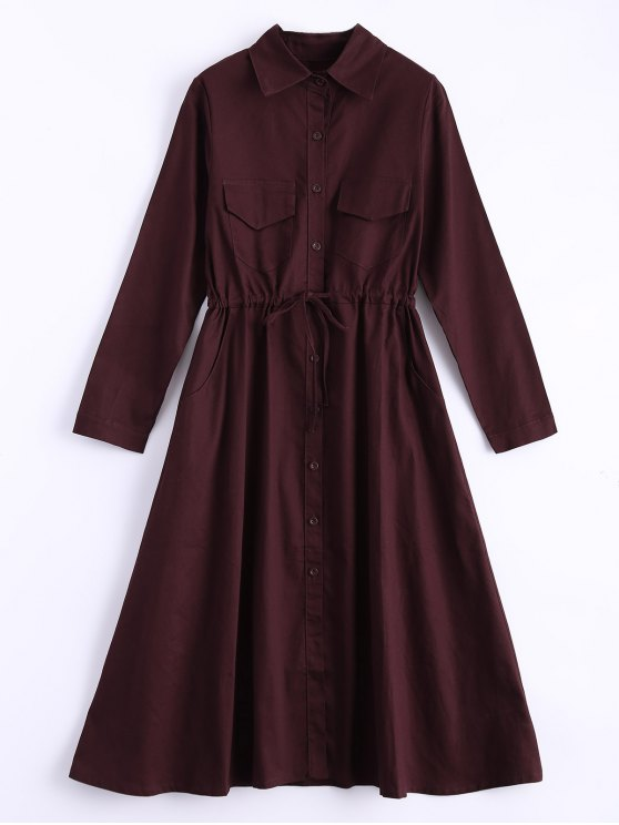 Camisa de vestir de manga larga con cordón - Vino Rojo Única Talla