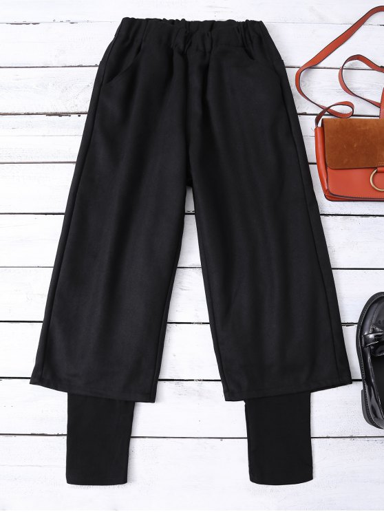 unique Elastic Waist Layered Wide Leg Pants - BLACK S