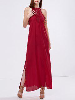 Robe Longue Fendue En Maille  - Rouge Xl