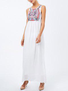 Vestido Talle Alto Sin Mangas Estampado Geométrico  - Blanco S