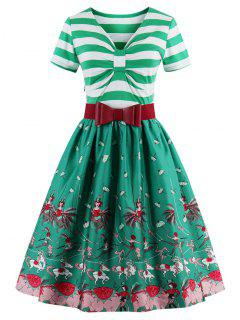 Striped Bowknot Printed Flare Dress - Crystal Green M