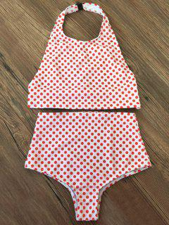 High Waisted Polka Dot Vintage Bikini - Red M