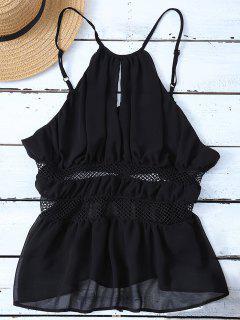 Mesh Panel Camisole - Black Xl