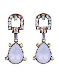 Faux Gem Teardrop Earrings - White