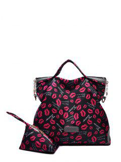 Printed Handbag With Coin Purse - Black