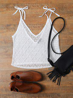 V Neck Backless Lace String Top - White S