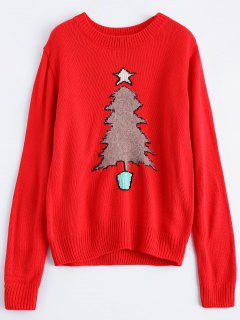 Christmas Tree Jacquard Pullover Sweater - Red S