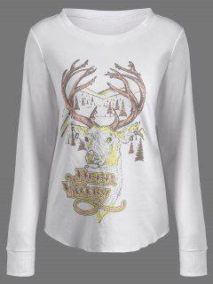 Christmas Reindeer Print Sweatshirt - Off-white Xl