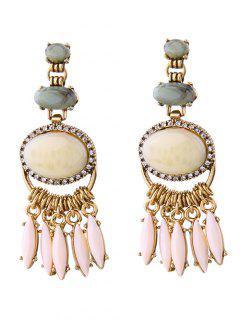 Faux Gemstone Fringed Earrings - Golden