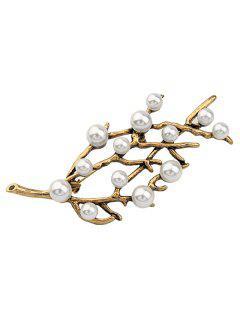 Faux Pearl Branch Brooch - Golden