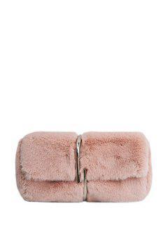 Flapped Faux Fur Clutch Bag - Pink