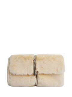 Flapped Faux Fur Clutch Bag - Beige