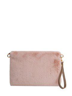 Faux Fur Embossed Panel Clutch Bag - Pink