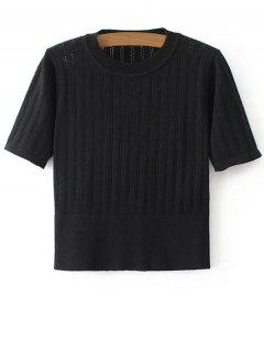 Short Sleeve Hollow Out Cropped Knitwear - Black S