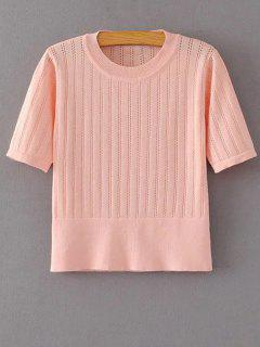Short Sleeve Hollow Out Cropped Knitwear - Papaya S