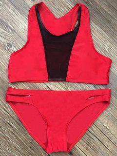 Color Block Mesh Panel Bikini Set - Red S