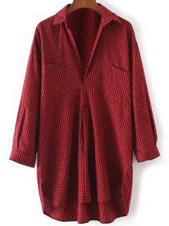 Pocket Gingham Check Shirt - Red With Black S