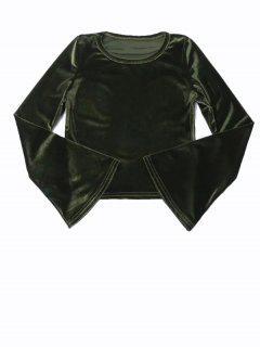 Sleeve Flared Velvet Crop Top - Vert Foncé M