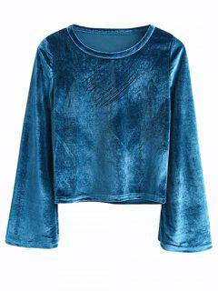 Vintage Flared Sleeve Velvet Crop Top - Peacock Blue M