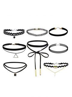 Geometric Vintage Bar Choker Necklace Set - Black